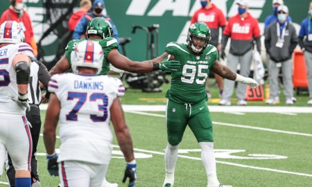 Quinnen Williams (No. 95) celebrates defensive stop for Jets against Bills