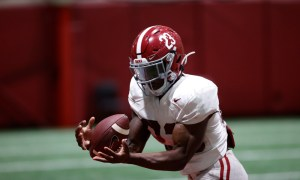 Roydell Williams with a catch at Alabama practice