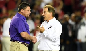 Nick Saban and Ed Orgeron shake hands at midfield before 2019 game