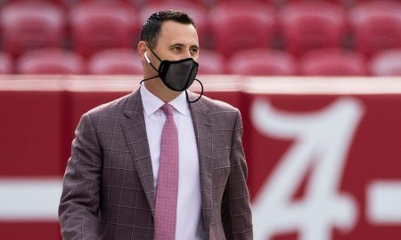 Steve Sarkisian takes a pregame walk before the Iron Bowl