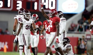 William Anderson celebrates a big play for Alabama versus Miss. State