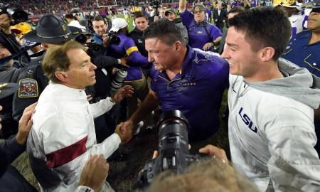 Alabama head coach Nick Saban shkes hands with LSU head coach, Ed Orgeron