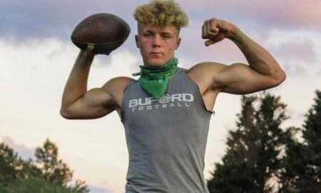 Jake Pope flexes muscles
