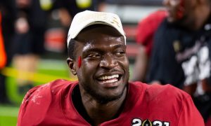 Joshua McMillon smiles after the national championship