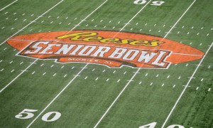 View of Reese's Senior Bowl logo from 2018 game in Mobile, Ala.