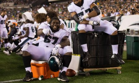 Chance Warmack on the sidelines during an Eagles game