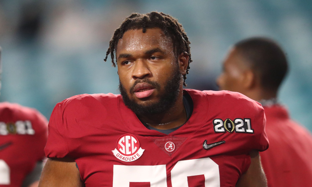 Chris Owens of Alabama looks on at CFP title game for 2020 season