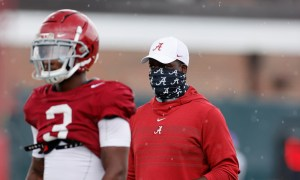 Karl Scott at practice with DB's for Alabama