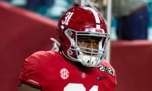 Will Anderson (No. 31) takes the field for Alabama versus Ohio State in 2021 CFP title game