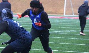 Alabama 2022 Wr target Omari Kelly runs route at 7v7 camp