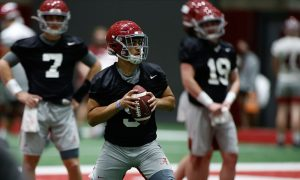 Alabama QB Bryce Young throws the football