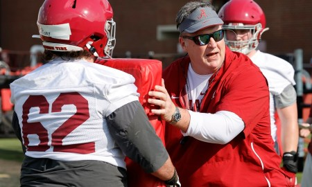 Doug Marrone working with Alabama's OL during spring practice