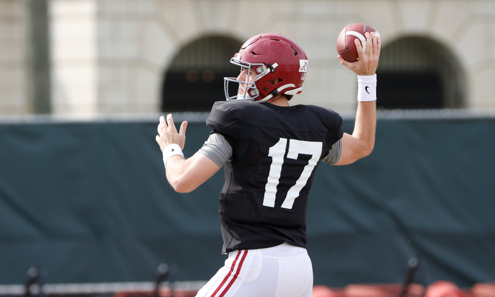Paul Tyson throwing a pass at Alabama spring practice
