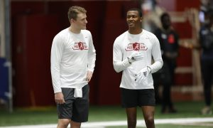 Mac Jones and DeVonta Smith having fun at Alabama's second pro day