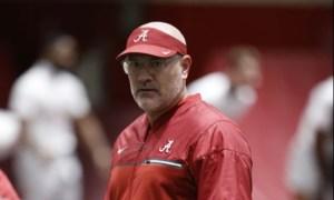 Dr. Matt Rhea looking on at Alabama practice in 2020
