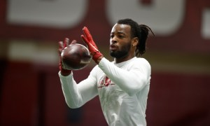 Najee Harris catching a pass at Alabama's second pro day