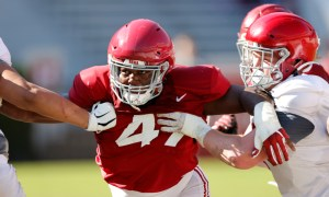 Byron Young fighting through a double team at Alabama's first scrimmage