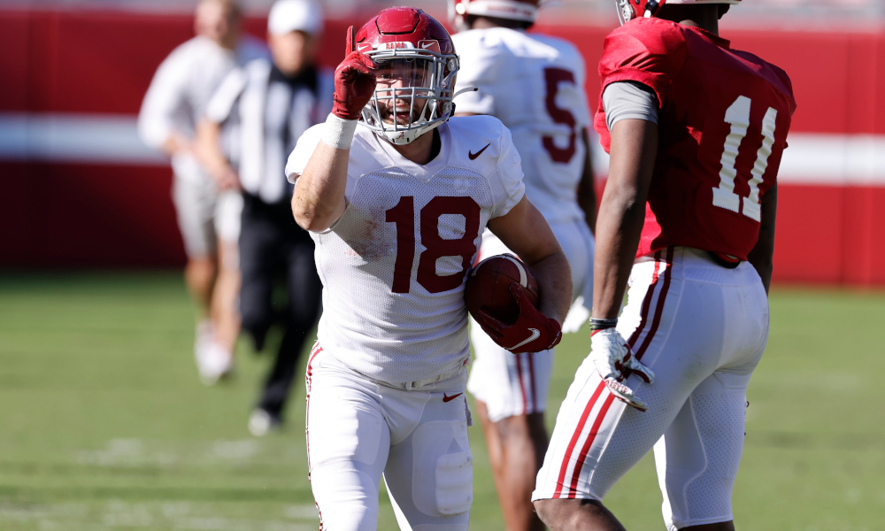 Slade Bolden with a catch for Alabama in first scrimmage