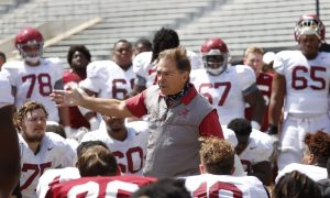 Nick Saban speaking to Alabama players after second scrimmage