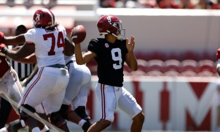 Bryce Young throws a pass during the A-Day game