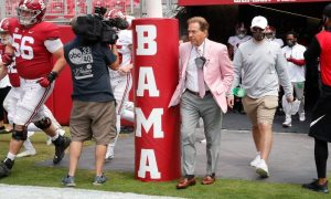 Nick Saban walks out of the tunnel on A-Day