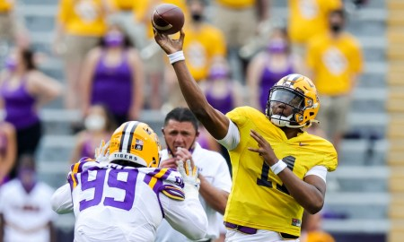 TJ Finley (No. 11) throwing a pass at LSU's spring game for 2021