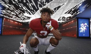 Alabama defensive back target Devin Moore poses for picture during visit