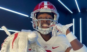 Jahlil Hurley poses for picture in Alabama uniform