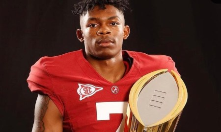 Barion Brown poses or picture during Alabama official visit