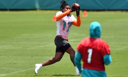 Jaylen Waddle with a catch from Tua Tagovailoa in OTAs for Dolphins