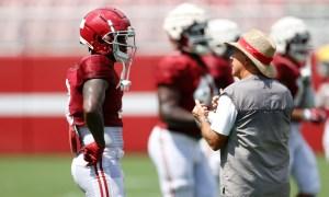 Nick Saban coaching defensive backs in Alabama's fall camp