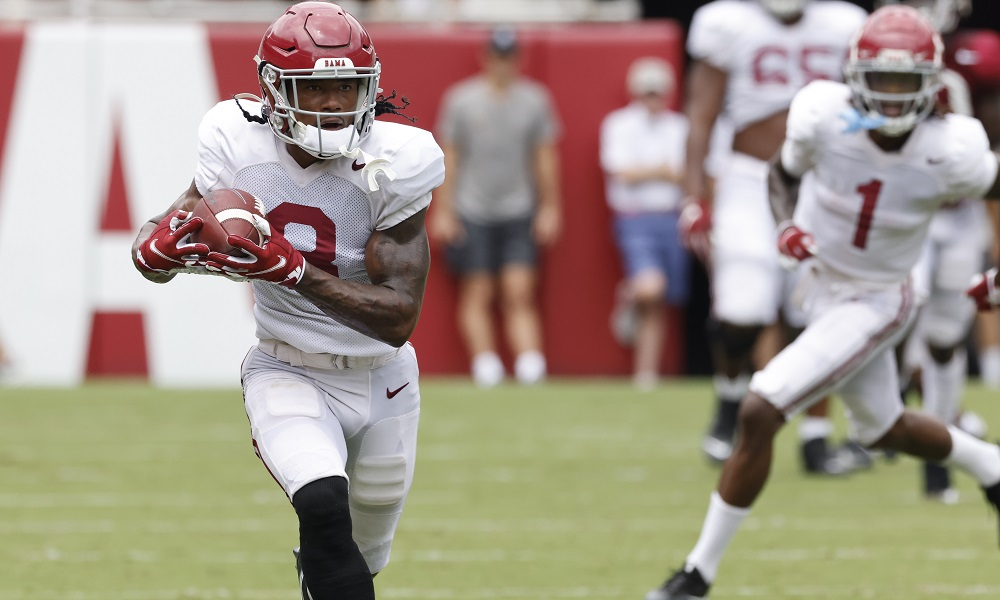 John Metchie with a catch and run during Alabama's second scrimmage