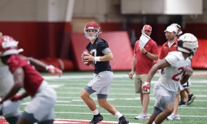 Paul Tyson drops back for a pass during Alabama practice