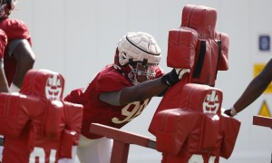 Jamil Burroughs (#98) hitting the sled at Alabama's practice before 2021 season