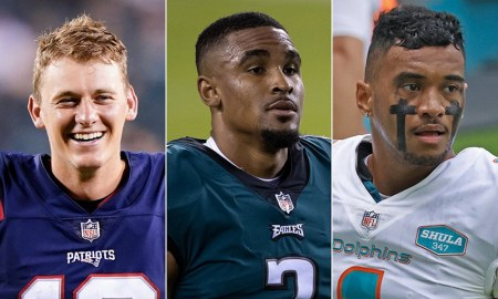 Graphic of Mac Jones, Jalen Hurts, and Tua Tagovailoa as starting NFL quarterbacks