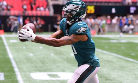DeVonta Smith catching a pass in warmups for Eagles prior to game against Falcons