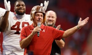 Nick Saban speaks to the crowd following the Chick-fil-A Kickoff Game