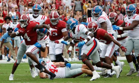 Brian Robinson breaks tackles against Ole Miss