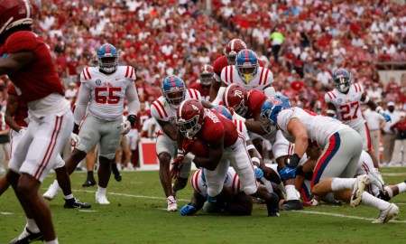Brian Robinson (#4) running all over Mississippi in Alabama's 42-21 victory