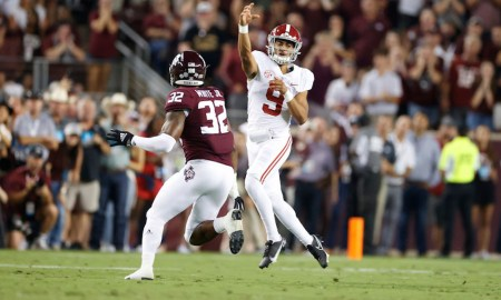 Bryce Young (#9) throws a pass for Alabama versus Texas A&M