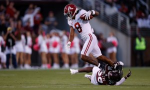 John Metchie (#8) breaks a tackle and scores TD for Alabama versus MSU