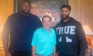Kiyaunta Goodiwn and Vaughn poses with Nick Saban during Alabama visit
