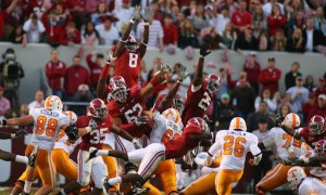 Terrence Cody (#62) blocked a FG for Alabama in 2009 versus Tennessee