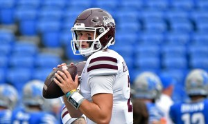 Will Rogers (#2) warms up for Miss. State before game against Memphis