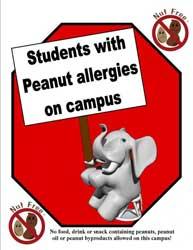 Estudiantes con alergia a los cacahuetes en el campus