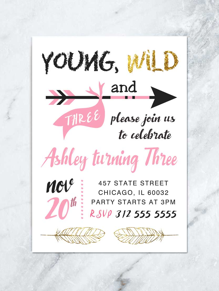 young wild three invitation pink and gold young and wild arrow watercolor 3rd birthday invite boho indian pow wow digital file