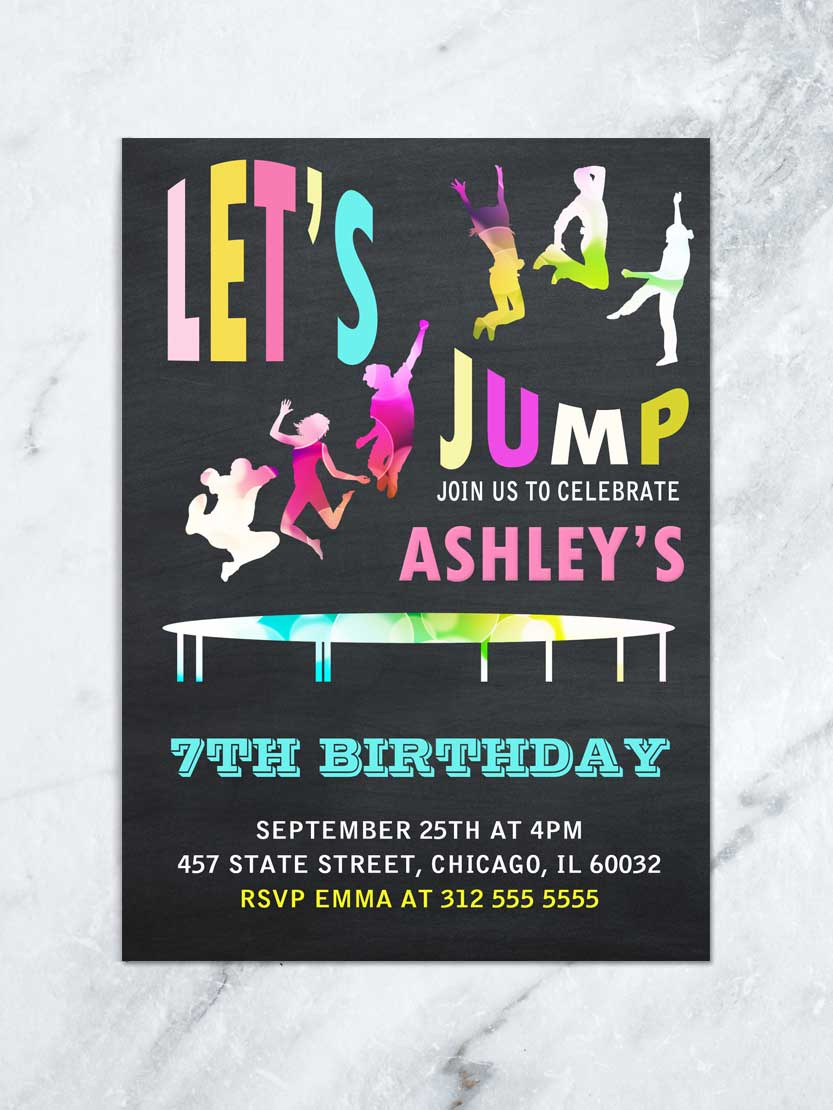 Jump Birthday Invitation Jump Tumble And Play Birthday