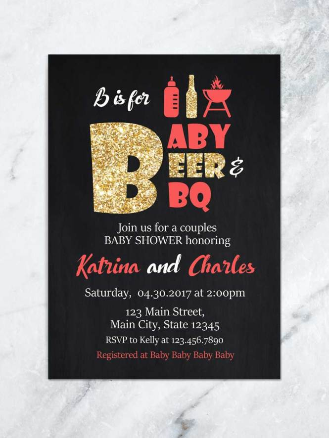 Baby Q Shower Invitation B Is For Beer And Bbq Babyq Coed Invite Backyard Digital File