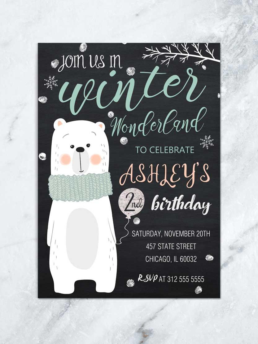 winter wonderland invitation winter onederland invitation winter birthday invite bear birthday invitation chalkboard any age digital file