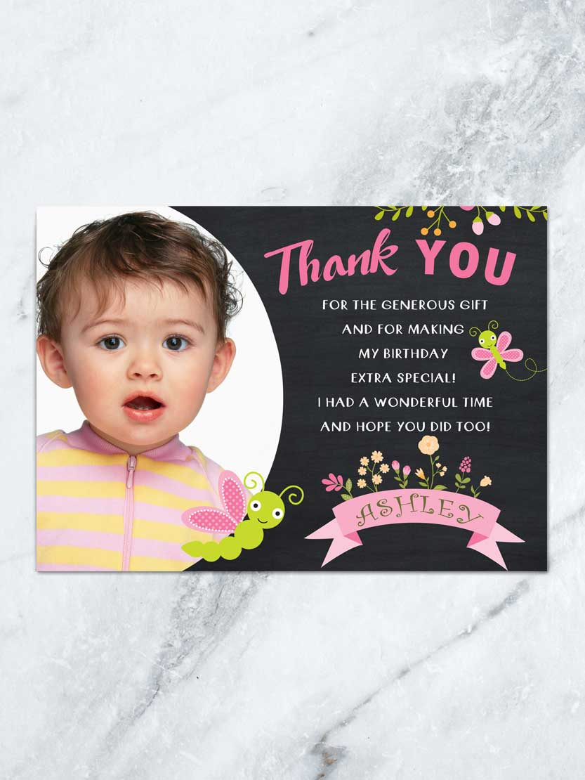 Butterfly Thank You Card Butterfly Birthday 1st Birthday